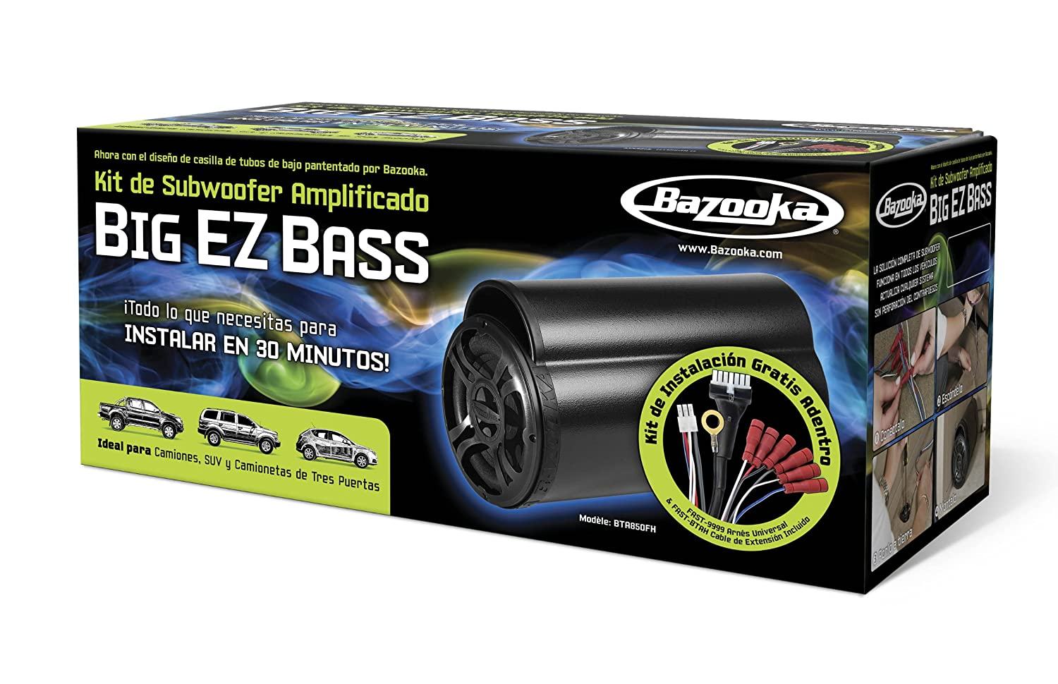 Amazon.com: Bazooka BTA850FH Big EZ Bass Amplified Subwoofer Kit: Car  Electronics