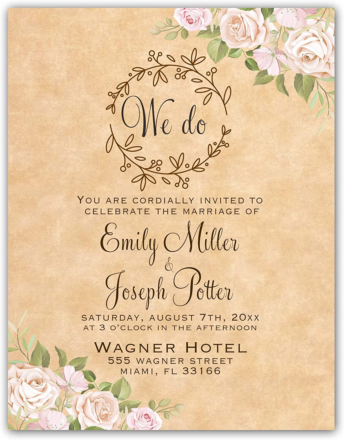 Amazon.com: 100 Wedding Invitations Floral Pink Roses Rustic Personalized +  Envelopes: Kitchen & Dining