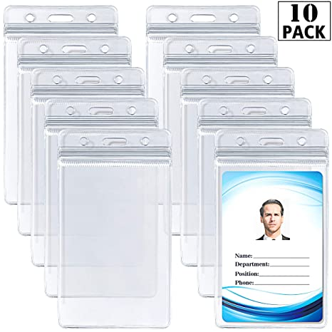 fc39164a7b72 ID Card Name Tag Badge Holder – Waterproof Sealable Clear Plastic Vertical  ID Card Holder for Work ID, Key Card, Driver's License (Vertical 10 Pack)