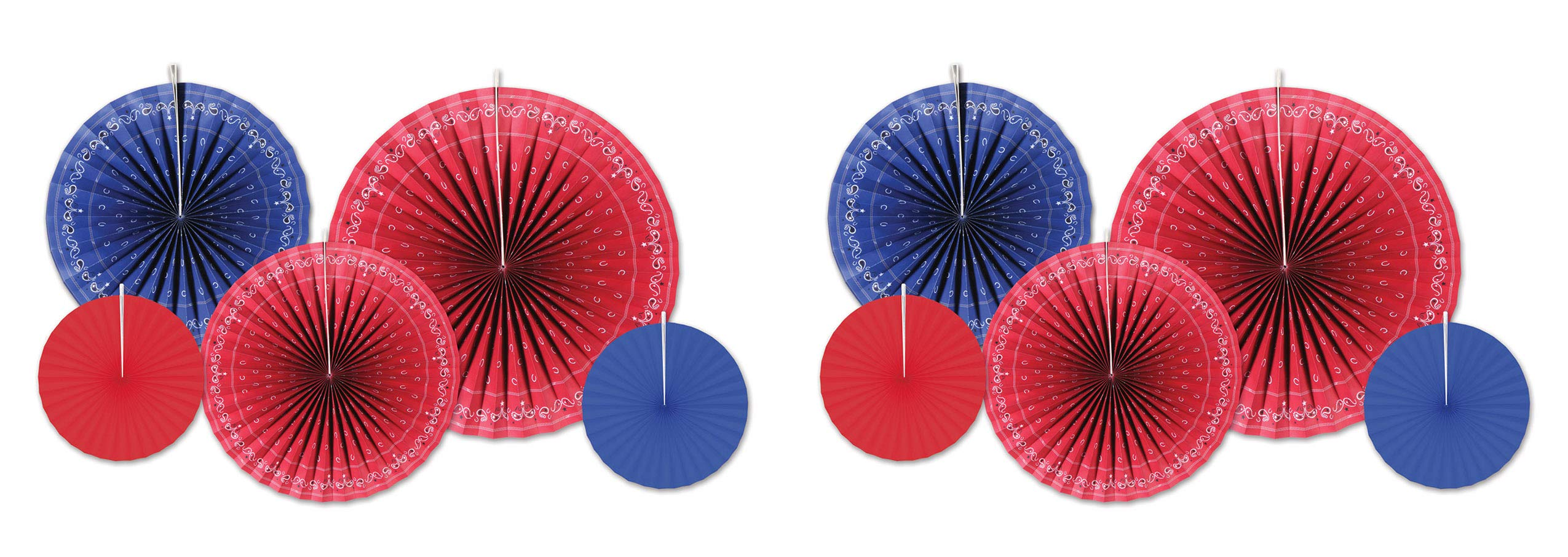 Beistle 59542 Bandana Accordion Paper Fans 10 Piece, 9'' - 16'', Red/Blue