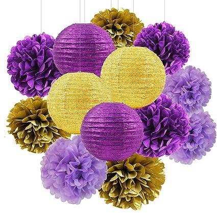 furuix purple gold party decorations glitter goldpurple paper lanterns tissue paper pom poms purple