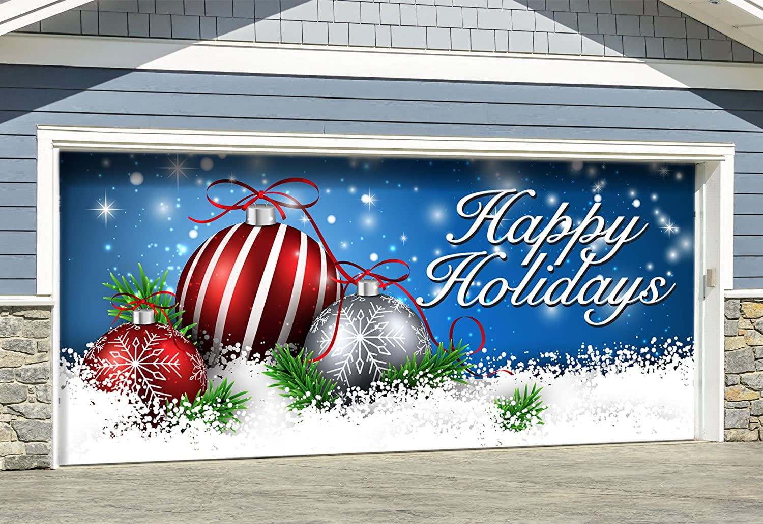 Garage door christmas murals for Christmas garage door mural