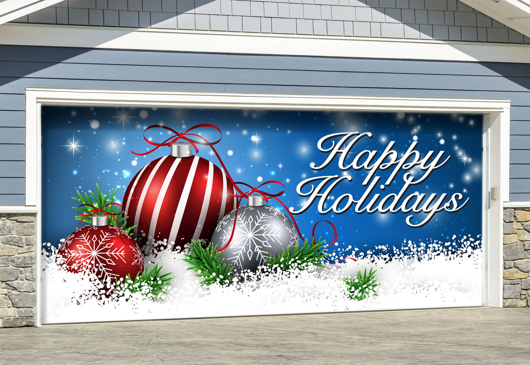 Red Ornaments in Snow Outdoor Christmas Holiday Garage Door Décor 7'x16'