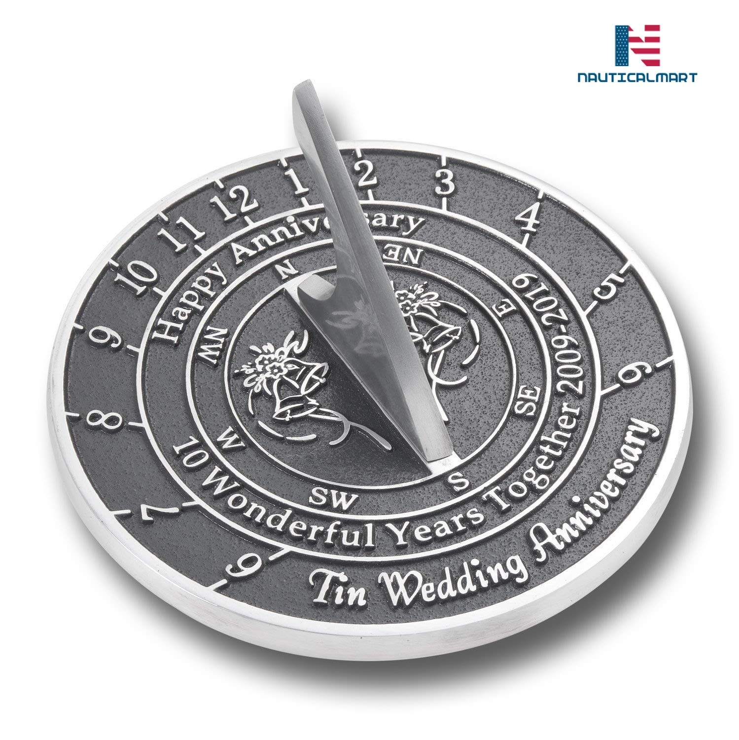 NAUTICALMART Looking for The Best 10th Tin Wedding This Unique Sundial Gift Idea is A Great Present for Him, for Her Or for A Couple to Celebrate (10th - Tin)