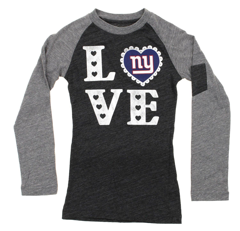 本物保証!  NFL Youth Big Girls Large New York York Giants Loveグラフィックラグランシャツ Youth、グレー Large ニューヨークジャイアンツ B06X3W1VTJ, ヒロタムラ:124c3452 --- a0267596.xsph.ru