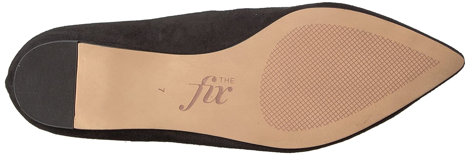 The Fix Women's Emilia Double Bow Pointed-Toe Flat B074K4MKXT 6.5 B(M) US|Black Suede