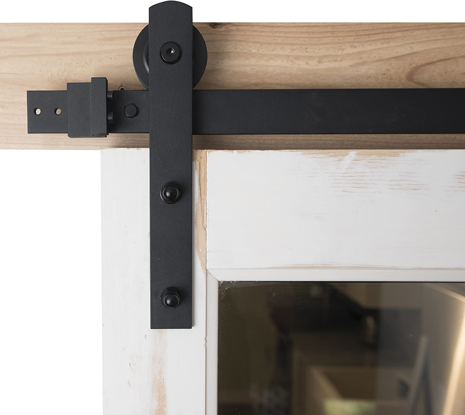Barn Door Hardware 6 6ft Sliding Kit Black Powder Coat Straight Strap Blacksmith Hardware Bd1005 Premium Quality