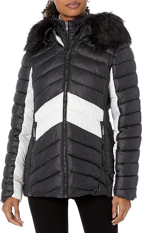 Steve Madden Womens Wool Fashion Coat Down Alternative Coat