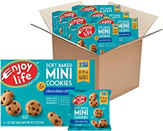 product image for Enjoy Life Mini Chocolate Chip Soft Baked Cookies, Nut Free Cookies, Vegan, Gluten Free, 6 Boxes (6 Snack Packs Each)