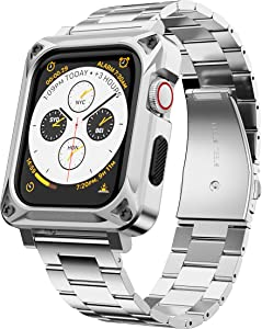 GELISHI Compatible with Apple Watch Band 44mm Series 6/5/4/SE,Metal Rugged Case Bumper Full Protective Cover with Stainless Metal Watch Band Replacement Strap for Men Women - Silver