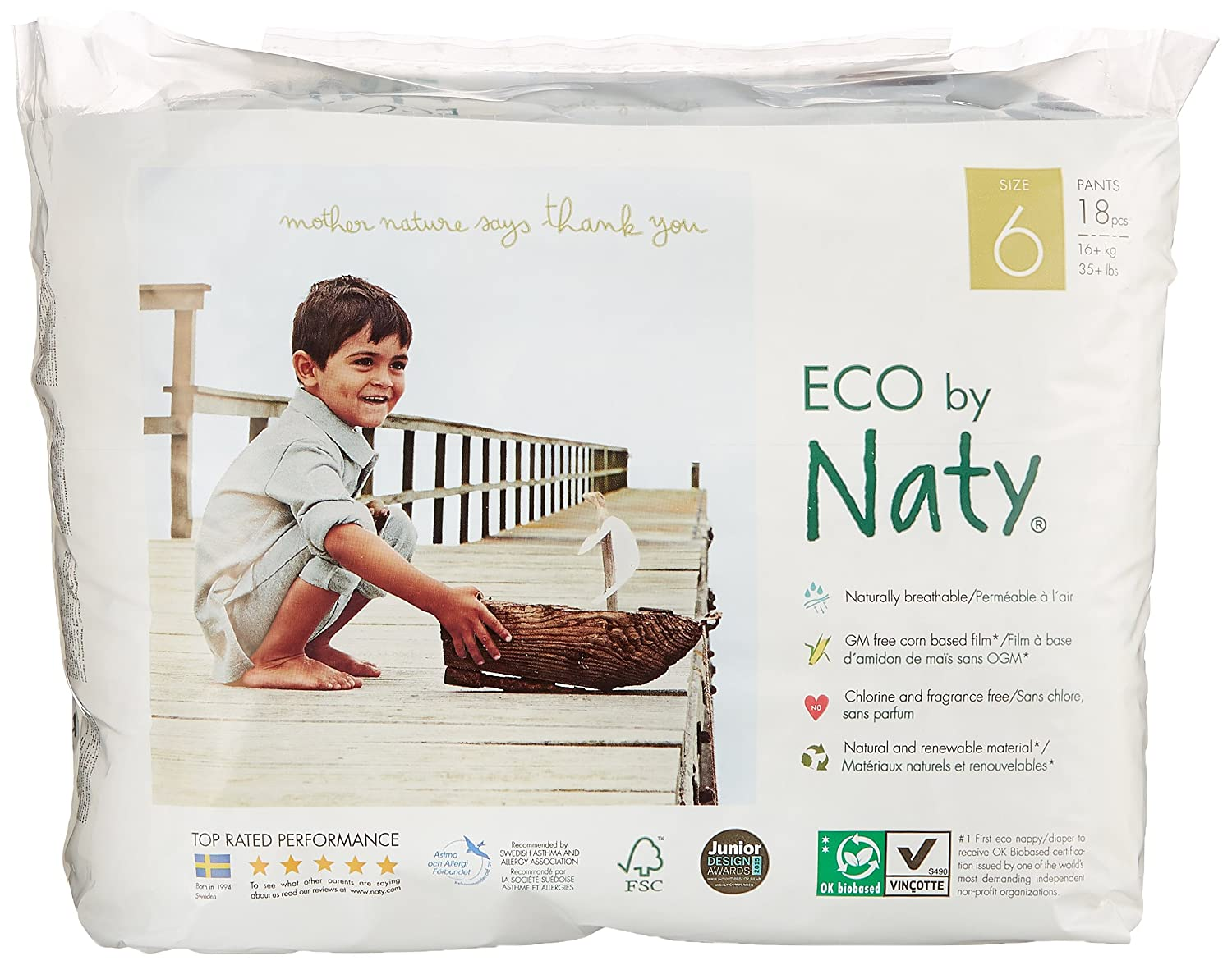 Naty by Nature Babycare Culottes d'Apprentissage É cologiques Jetables Taille 6 Extra Large Poids: 16+ Kg 18 Couches