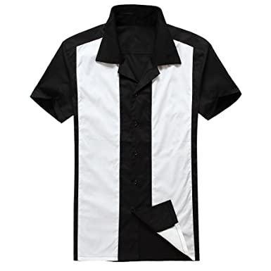 Mens Shirts Hip hop Clothing Vintage Rockabilly Clothing Retro Bowling Shirts