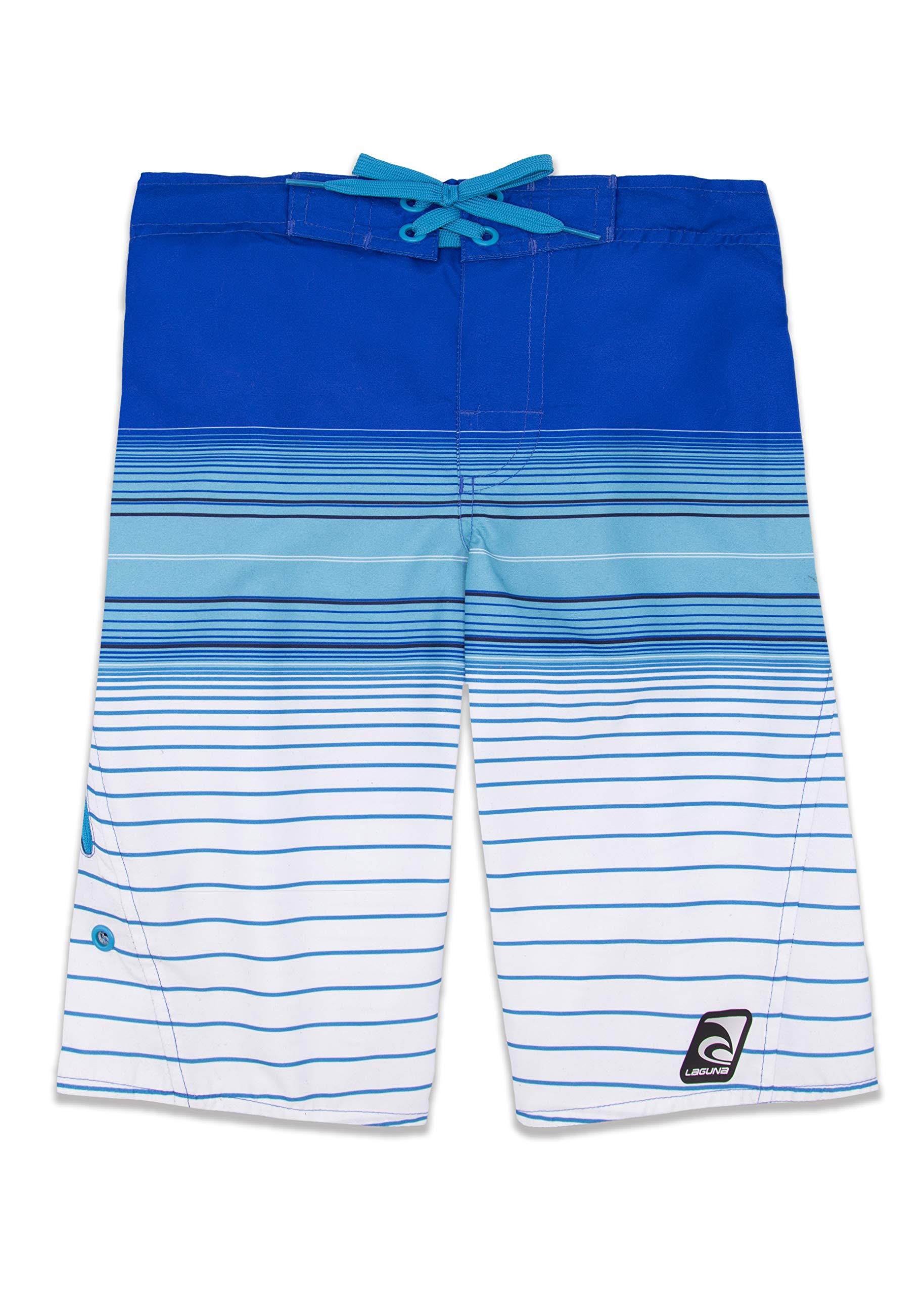 LAGUNA Boys Summer Stripe Boardshorts Swim Trunks, UPF 50+, Blue/White, 10/12