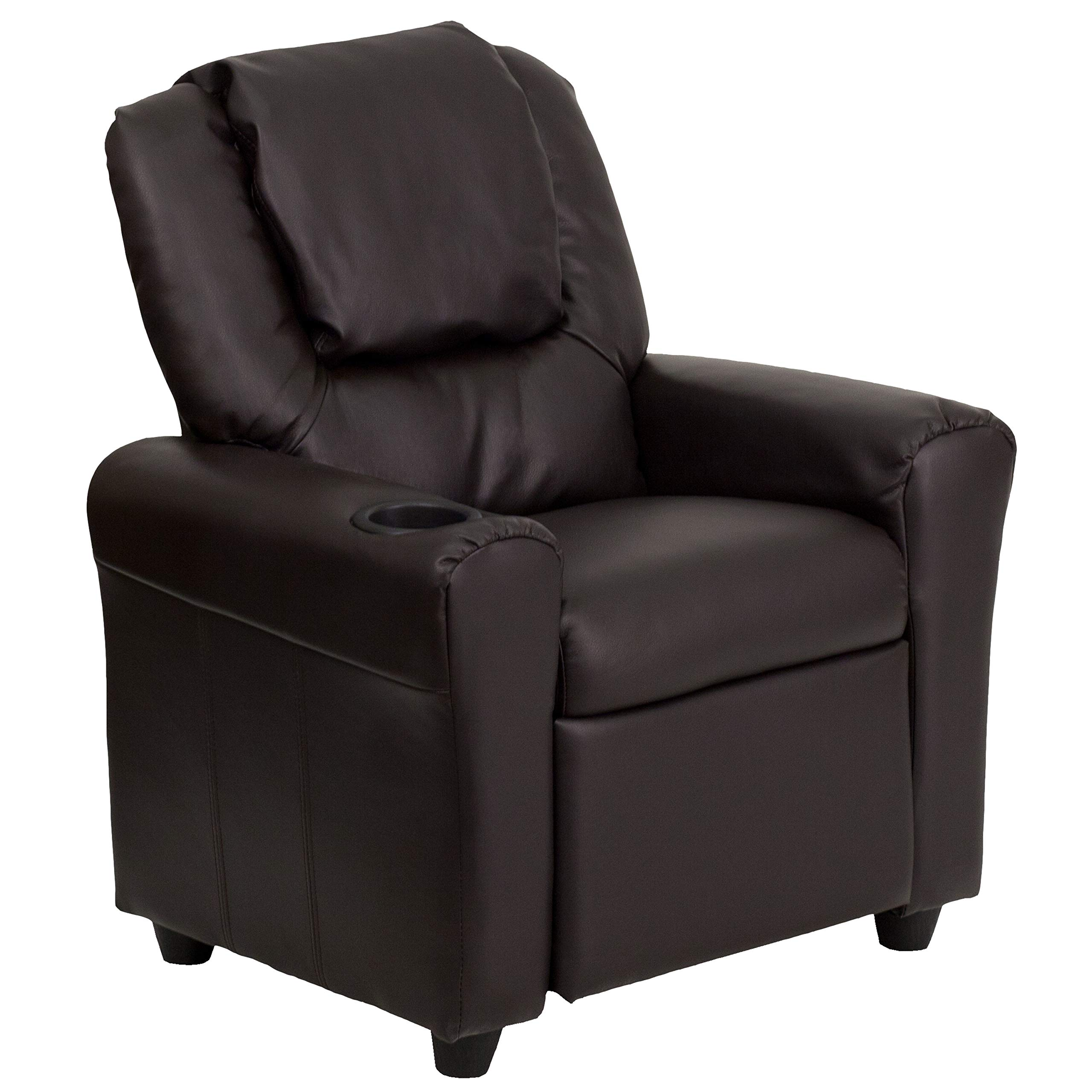 Flash Furniture Contemporary Brown Leather Kids Recliner with Cup Holder and Headrest by Flash Furniture