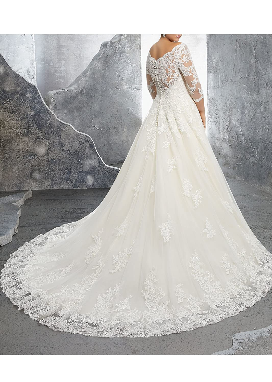 Beauty Bridal V-Neck Off Shoulder Mermaid Wedding Dresses Bride Lace Applique Bridal Gowns
