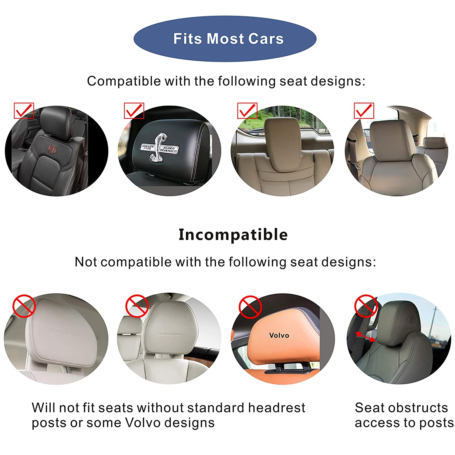 Blue A Comfortable and Safe Car Seat Pillow for Head and Neck Support During Car Travel LEADSIGN Ajustable Car Headrest