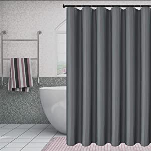Biscaynebay Fabric Shower Curtain Liners Water Resistant Bathroom Curtain Liners, Dark Grey 72 by 72 Inches