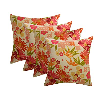 "RSH DECOR Set of 4 Indoor/Outdoor 20"" Square Decorative Throw Pillow Cover with Insert - Coral & Gold Flower: Kitchen & Dining"