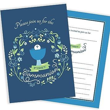 Olivia Samuel First Holy Communion Invitations Boys Blue Design