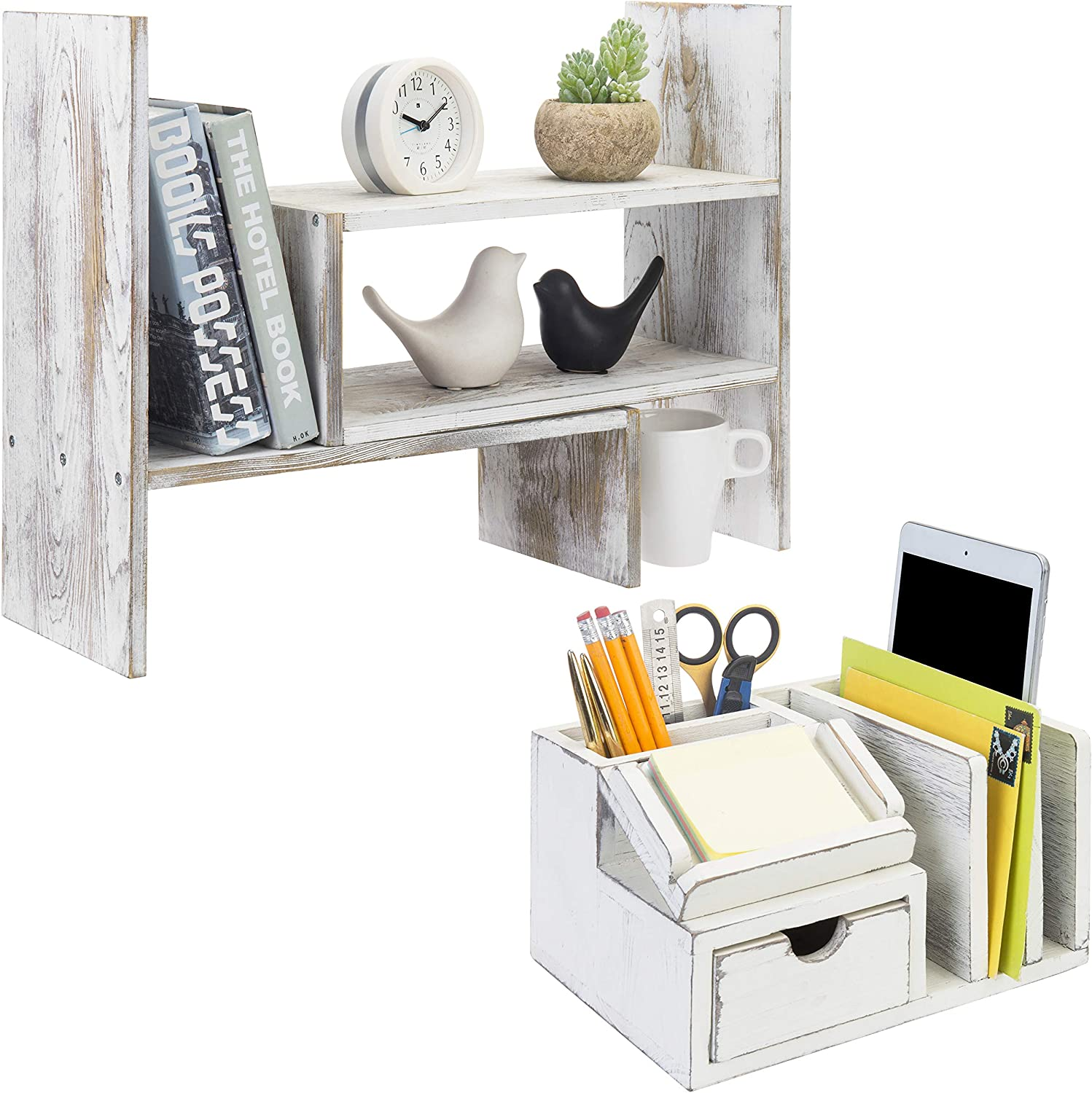 Amazon Com Whitewashed Wood Adjustable Desktop Office Organizer Bundle With Vintage White Wood Sticky Note Pad Holder Mail Sorter Office Products