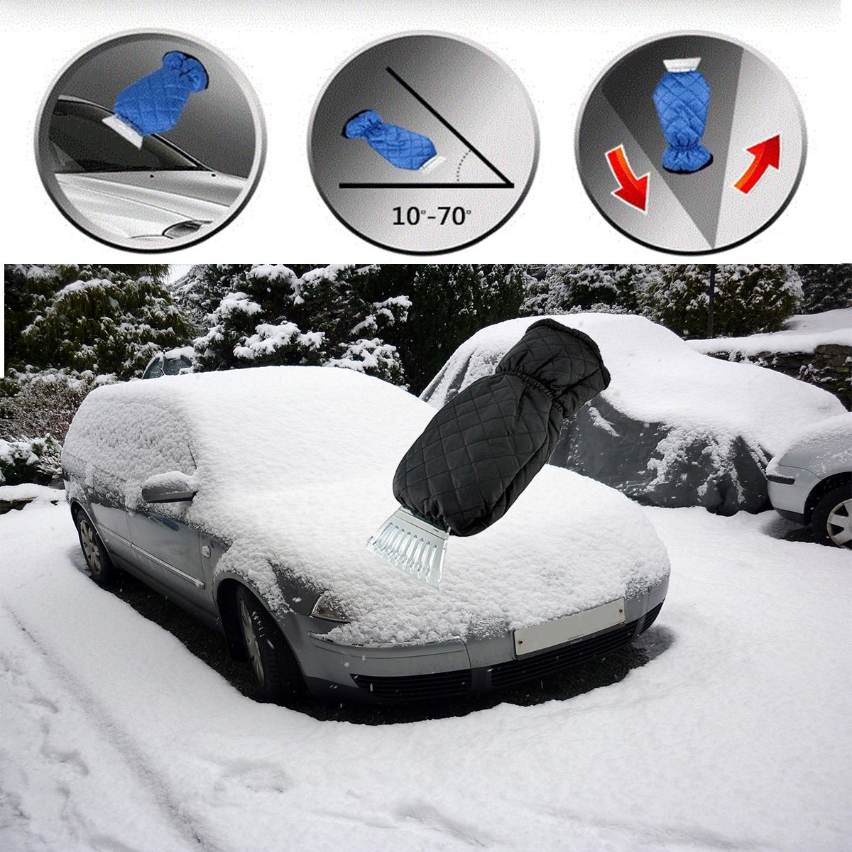 Red LLOP Ice Scraper Mitt for Car Windshield Snow Scrapers with Waterproof Glove Lined of Thick Fleece Black