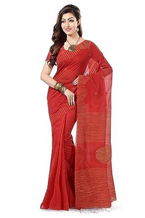 eb1bbad5160453 Wooden Tant Red Ball Ghicha Handloom Cotton Silk Saree With Hand Weaved  Ghicha Border