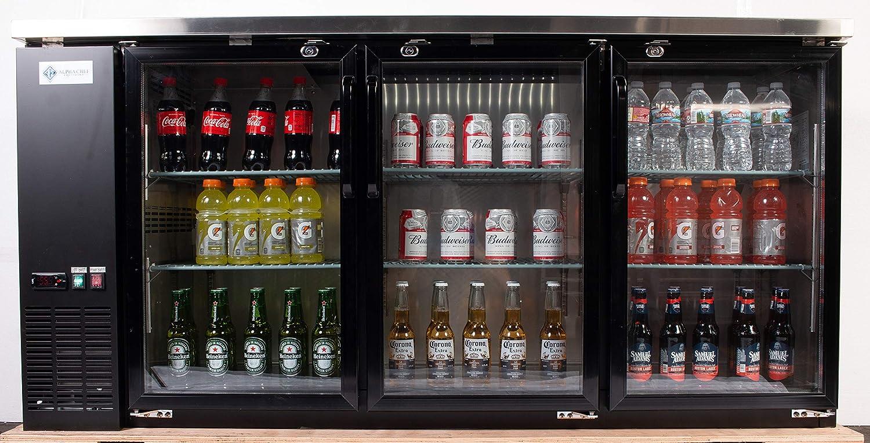 19.6 Cu.Ft Triple Glass Door Stainless-Steel Interior Alpha Chef Equipment Back Bar Bottle Cooler