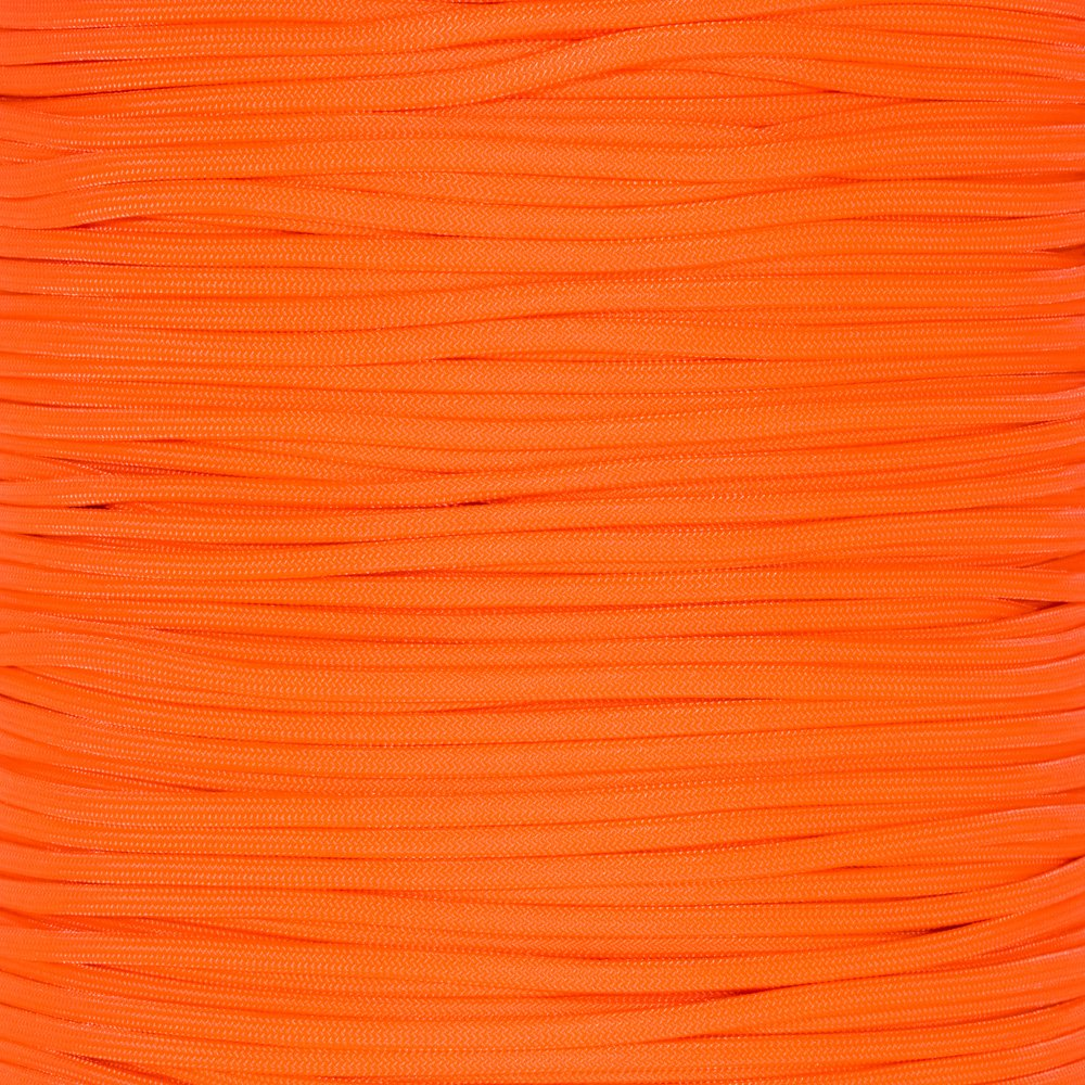 Paracord Planet 550 Cord Type III 7 Strand Paracord 1000 Foot Spool - Neon Orange
