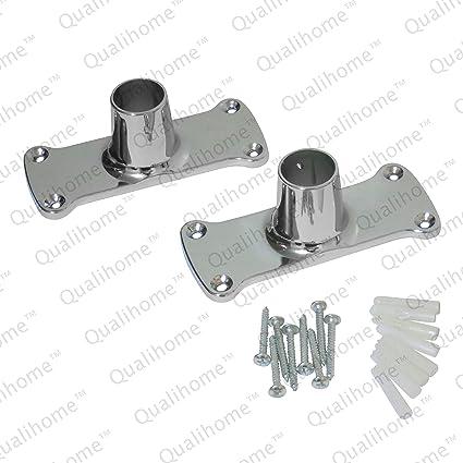 Qualihome Heavy Duty Jumbo Rectangular Shower Curtain Rod Flange Bracket Chrome Polished Set Of