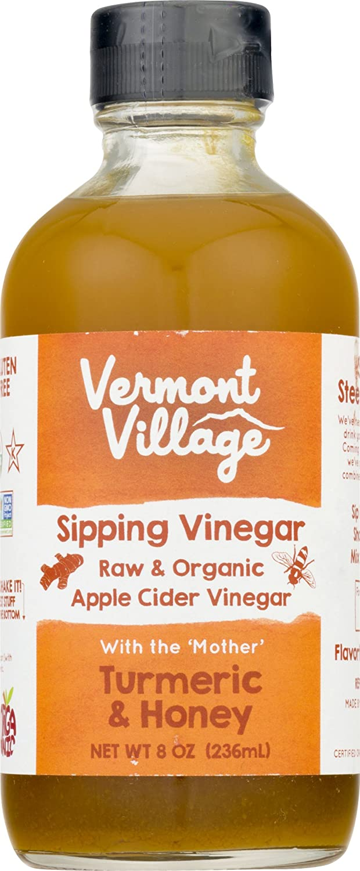 Vermont Village Organic Sipping Apple Cider Vinegar, 8oz (Turmeric & Honey) (2)