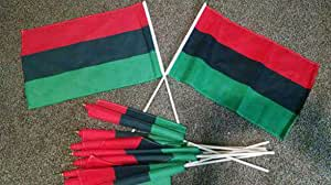 Chris Monroe STL RBG Pan-African American 12x18 Inch Polyester Flag with 24 Inch Stick Black Power Movement (Set of 5)