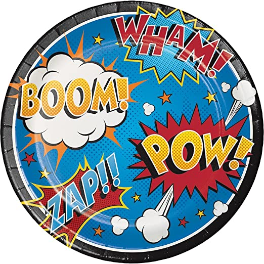 8 counts per pack Creative Converting 324838 96 Count Dinner//Large Paper Plates Superhero Slogans Pack of 12