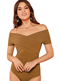 26e55a4a65 Amazon.com  DIDK Women s Off Shoulder Rib Knit Cross Front Bodysuit ...