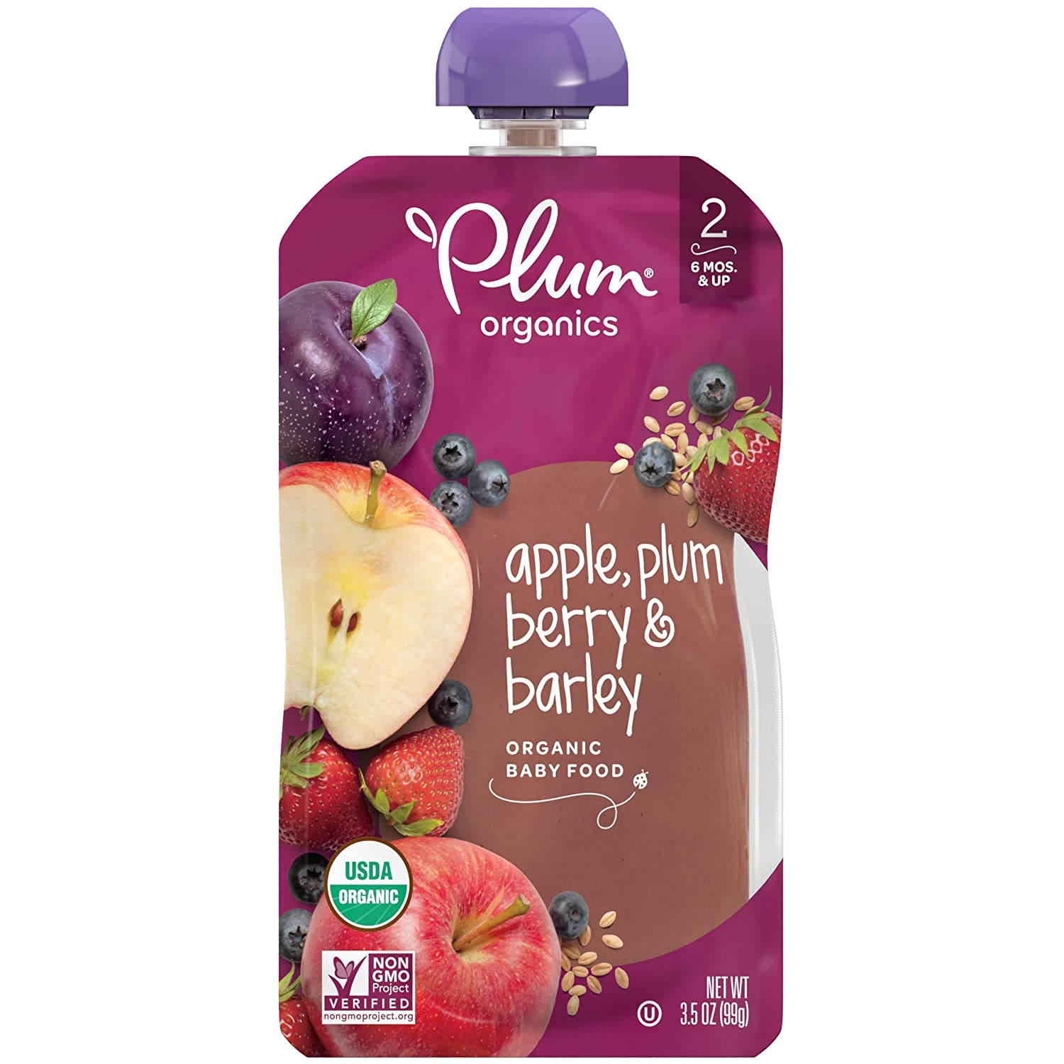 Plum Organics Stage 2, Organic Baby Food, Apple, Plum, Berry and Barley, 3.5 Ounce Pouches (Pack of 12)
