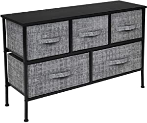 Sorbus Dresser with 5 Drawers - Furniture Storage Chest Tower Unit for Bedroom, Hallway, Closet, Office Organization - Steel Frame, Wood Top, Easy Pull Fabric Bins (Gray/Black)