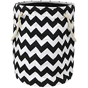 Modern Littles Standing, Folding Laundry Basket, Black Chevron - Collapsible Bin for Toys - Bedroom Organizer - Foldable Bin with Large Capacity. Adult and Kids Kid's Room Décor