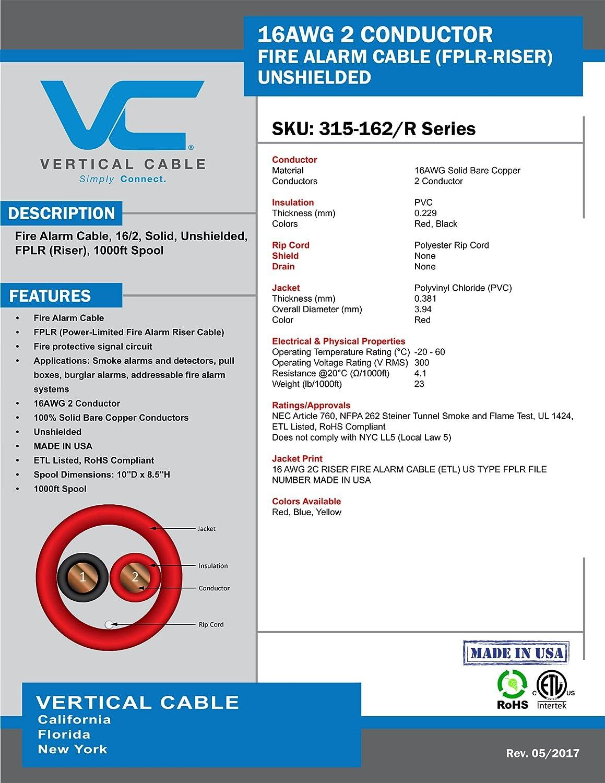 Vertical Cable Conductor de Cable de Alarma contra Incendios, 16 AWG, 2, sólido, sin blindaje, fplr Riser, (), 1000, Bobina, Rojo - Fabricado en EE. UU.