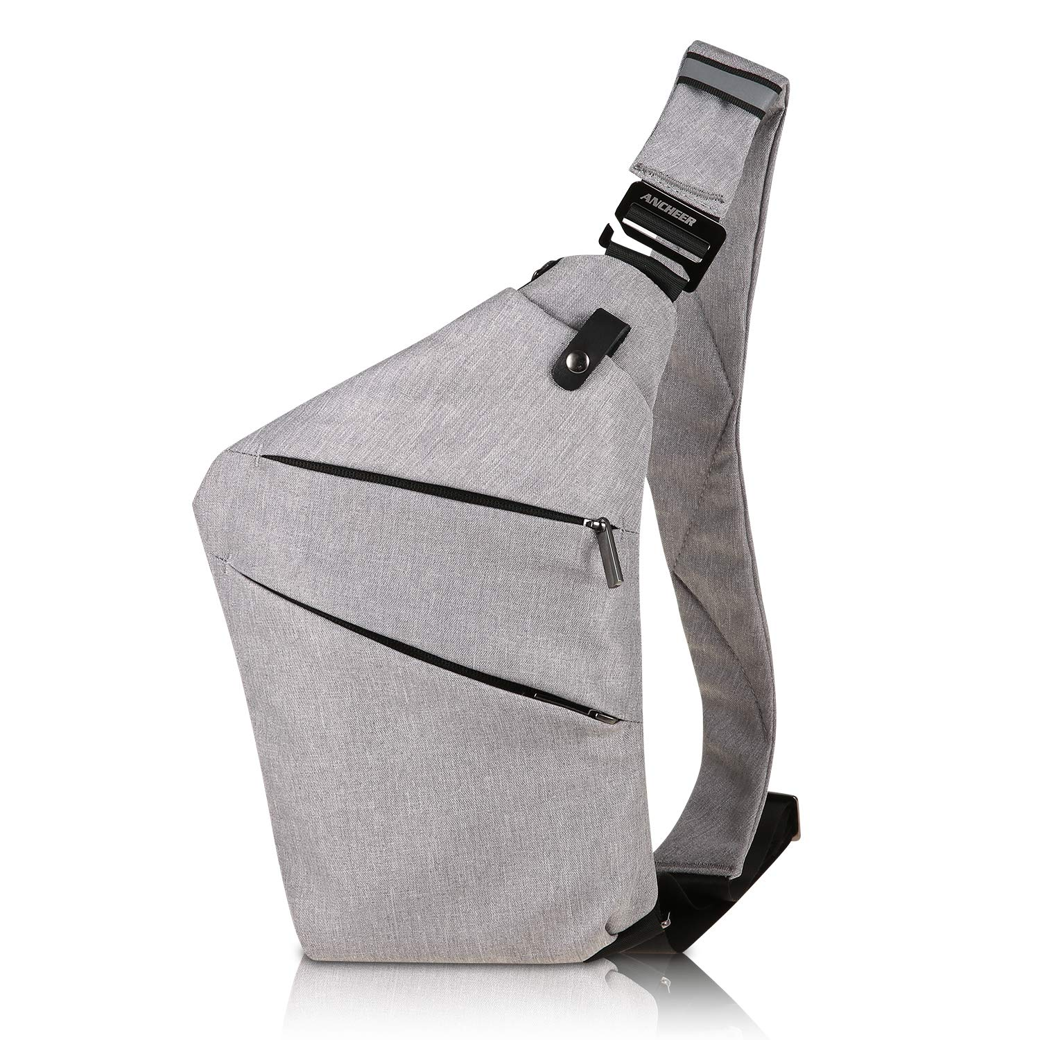 ANCHEER Canvas Sling Chest Bag, Small Unisex Vintage Messenger Crossbody Backpack for Traveling School Dating Shopping & Outdoor Activities (Sling Chest Bag_Gray)