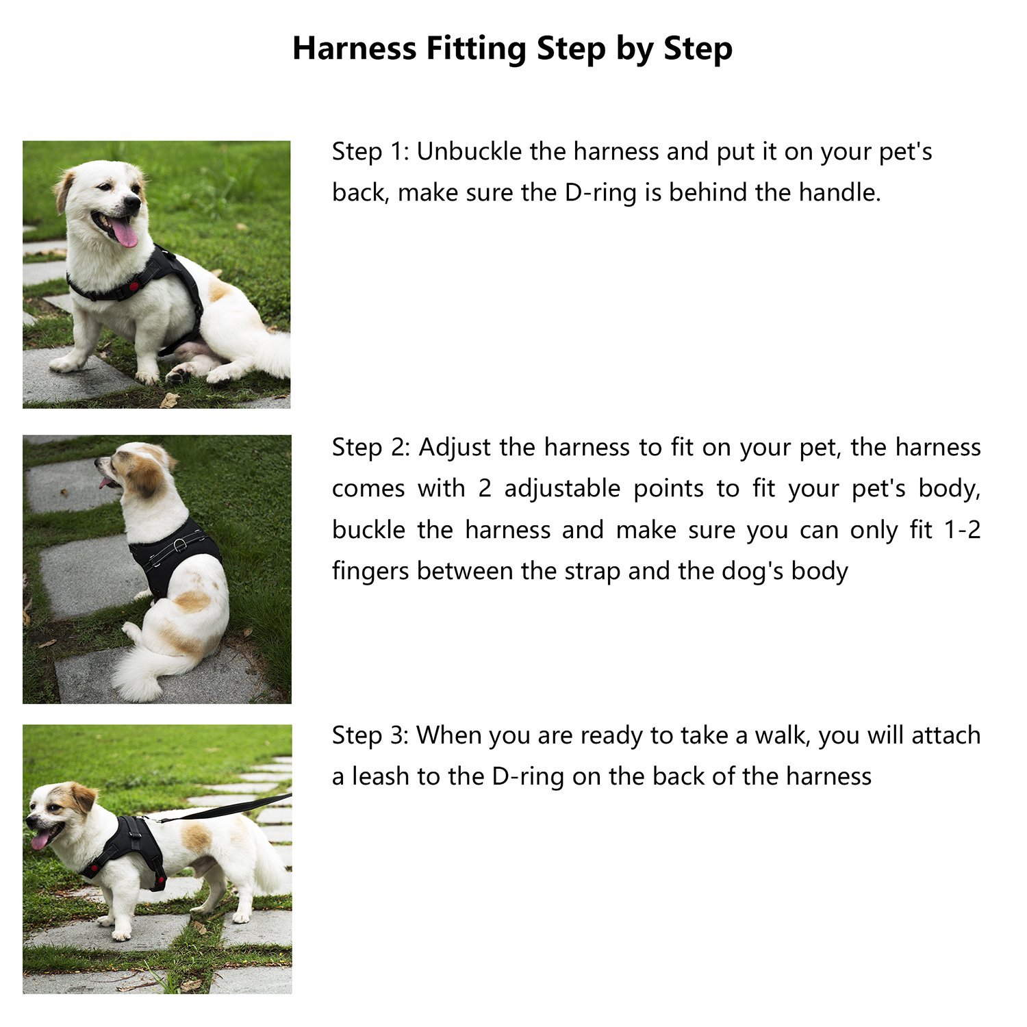 Dog Harness No-Pull Pet Harness - Adjustable Padded Reflective Pet Vest with Handle & Dog Leash Set - Easy Control for Small Medium Large Dogs - Perfect for Daily Training Walking Running (Medium) by THE ONE (Image #4)