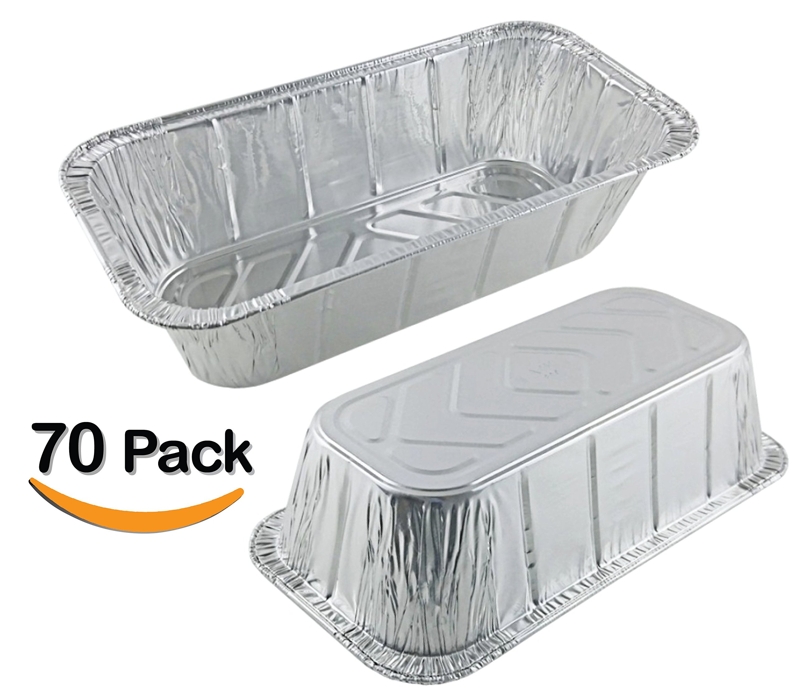 70 Pack 2LB - Loaf Pans - Bread Pans l Disposable Aluminum Loaf Pans, Aluminum Bread Pans l For Homemade Cakes and Breads, Meatloaf - Standard Size, 2 Pounds - 8.5'' X 4.5'' X 2.5''
