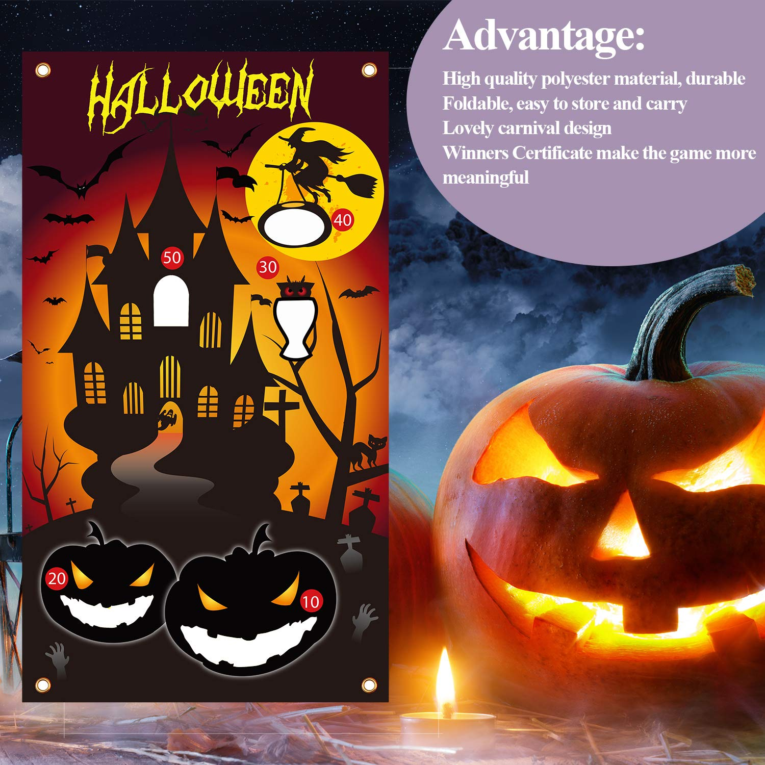 Style 1 URATOT Halloween Bean Bag Toss Game with 4 Bean Bag and 10 Winners Certificate for Families with Kids Travel Games Halloween Party Decorations Supplies