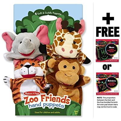 Zoo Friends 4-Piece Hand Puppets Gift Set + FREE Melissa & Doug Scratch Art Mini-Pad Bundle: Toys & Games