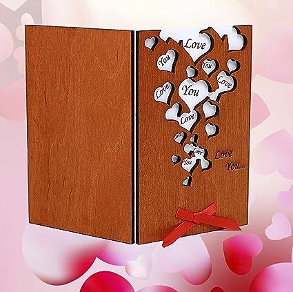 Handmade Love You Many Hearts Real Wood Card Best Birthday Wedding Dating Anniversary Present
