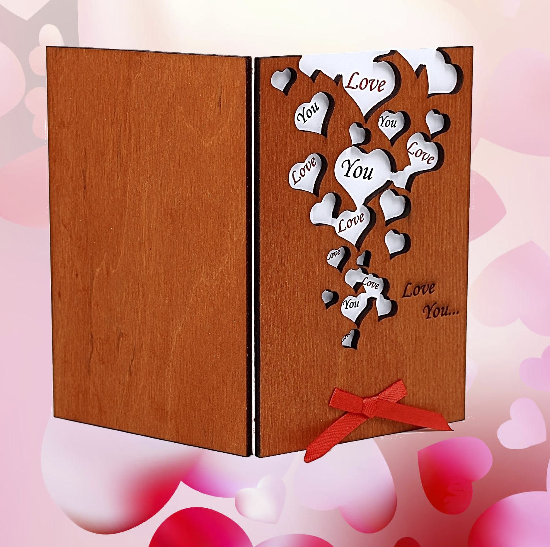Handmade love you many hearts real wood greeting card best unusual handmade love you many hearts real wood greeting card best unusual happy birthday gift for friend mom dad or romantic valentine 5 th wedding dating m4hsunfo