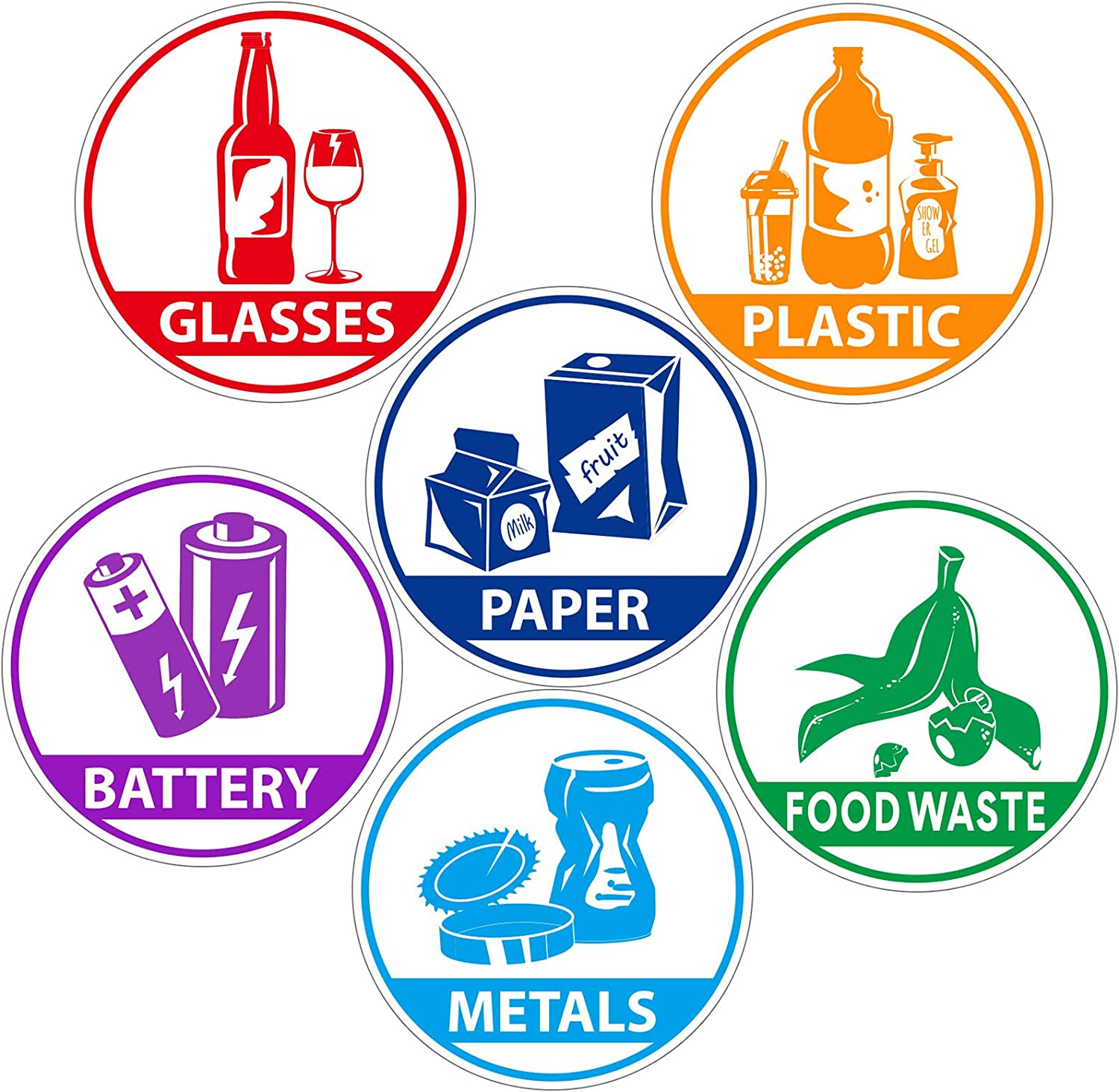6 Pieces Recycle Sticker Decal for Trash Can, Re-Adjustable Waterproof Bin LabelsPaper Metal Plastic Glass Waste SortingRecycling Sticker Sign for Use in Home and Office
