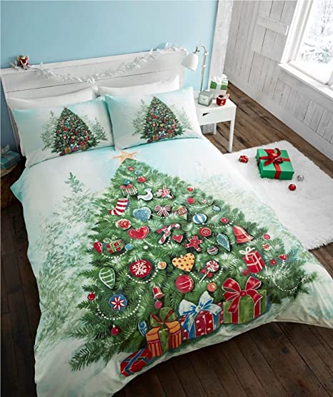 Lenzuola Matrimoniali Di Natale.Christmas Tree Albero Di Natale Trapunta Copripiumino E 1 Federe