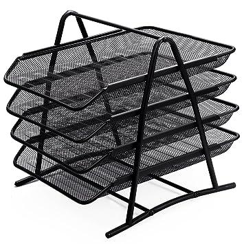 Zuvo - Organizador de escritorio de malla metálica con 4 niveles de bandejas para documentos, para casa o para la oficina, color negro: Amazon.es: Oficina y ...