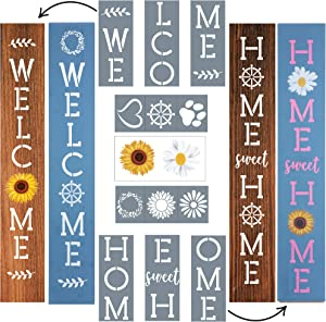 Stencils for Painting on Wood Reusable, Vertical Outdoor Welcome Signs for Porch, Sunflower and Daisy Rub On Transfers & 6 Shape Stencils for Customization, Best for Winter Porch Decor by ULPO Crafts