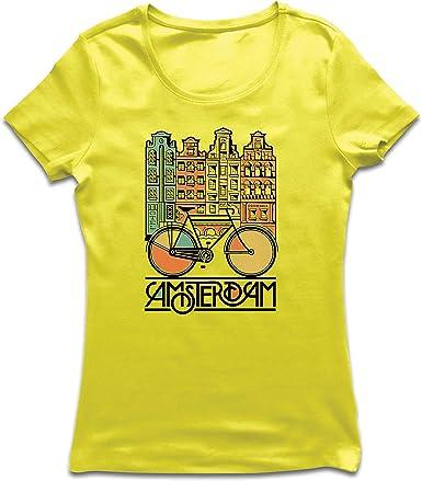 lepni.me Camiseta Mujer Bicicleta Vintage de la Ciudad de ...