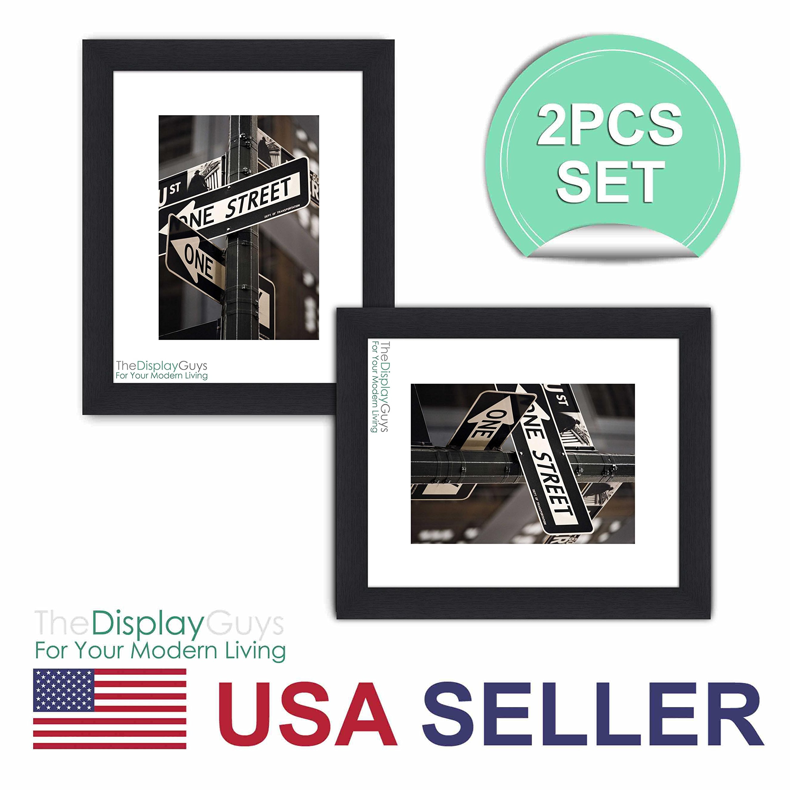 """The Display Guys ~ 2 sets of 8x10 inches Black Wooden Photo Frame, Tempered Glass, Luxury Made Affordable, with 1pc White Mat Board for 5""""x7"""" Picture"""